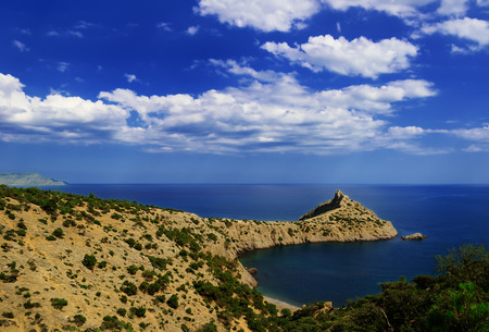 rocky mountain juniper: Sea landscape - Cape Kapchik on the Black sea coast and Blue Bay, Crimea;