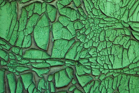 severely: Texture - old green paint on a wooden surface, severely chapped Stock Photo