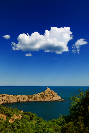 rocky mountain juniper: Picturesque seascape - Blue Bay and Cape Kapchik with a lonely cloud in the blue sky on a warm summer day, reserve Novy Svet, Crimea