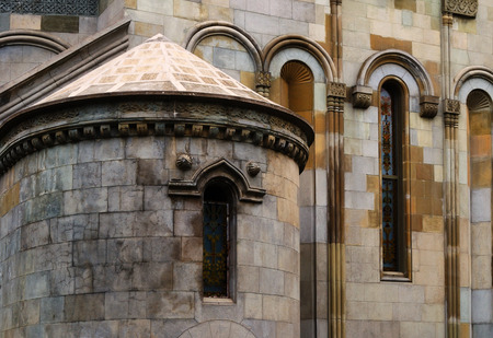 Armenian Apostolic St. Hripsime Church in Yalta, Crimea, facade closeup