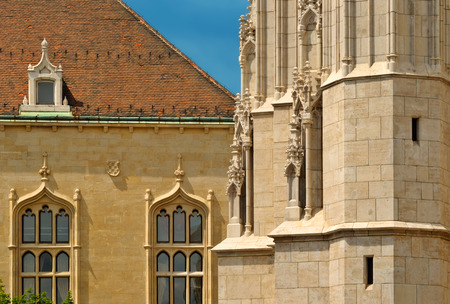 The Matthias Church and House of Hungarian Culture Foundation closeup in sunny day, Budapest, Hungary