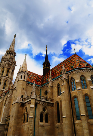 View on the Matthias Church, located on Buda hill in Budapest, Hungary