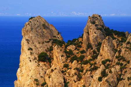 Picturesque Crimean landscape cape Chiken-Kaya and Black sea at sunrise, near the village of Novy Svet