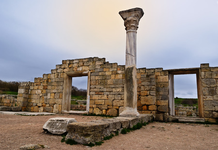 The ruins of the Basilica in ancient city Chersonese - national historical and archaeological reserve, Sevastopol, Crimea
