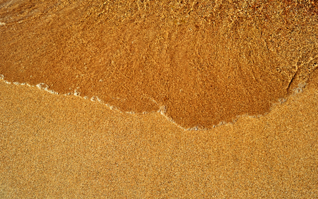 Natural background - wave rolls on the warm golden sandy beach closeup, Red sea Фото со стока
