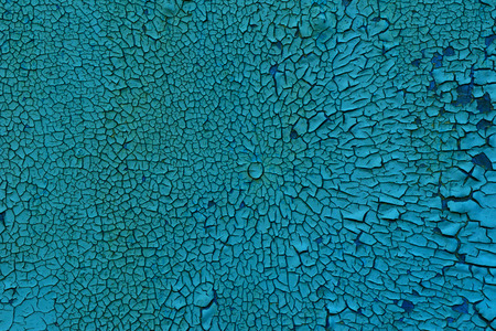 Texture - old blue paint on a wooden surface, severely chapped