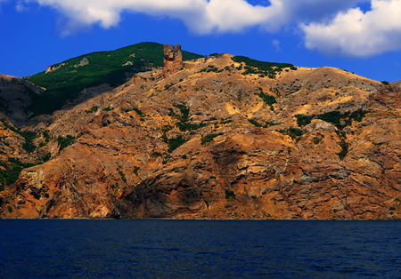 Beautiful summer landscape - view from the sea on famous natural reserve Karadag and Sphinx rock