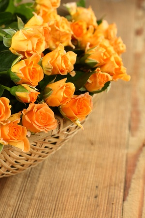bunch of yellow flowers in linen basket Stock Photo - 13077730