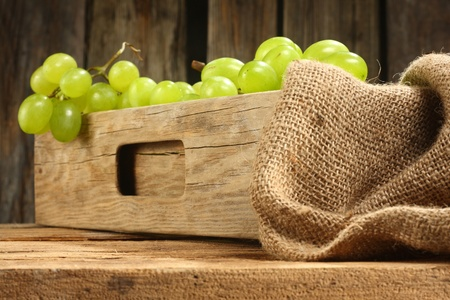 grapes in wooden chest photo