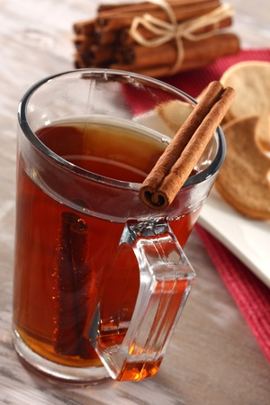 cinnamon and hot tea photo