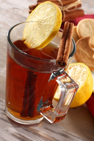 tea with lemon slices photo