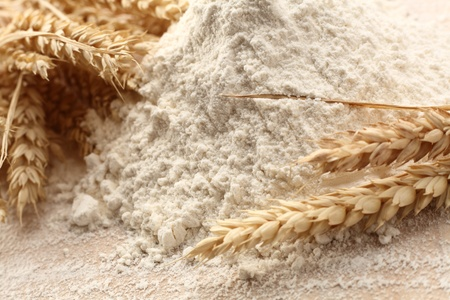 white flour with wheat straw Stock Photo