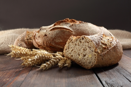 traditional white bread with grains photo