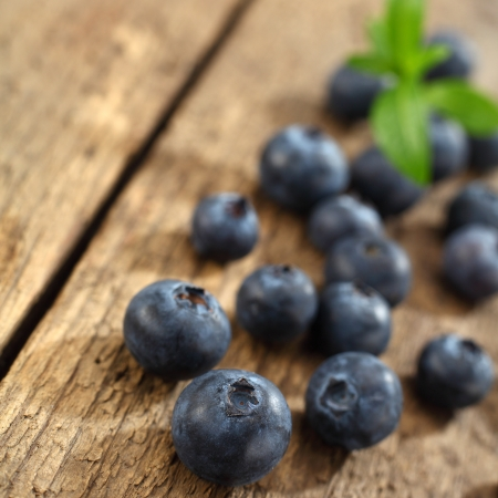 blueberries on rustic table