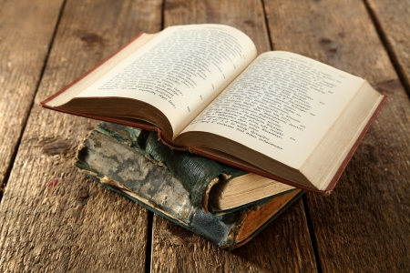 open book on rustic table Stock Photo - 15645757