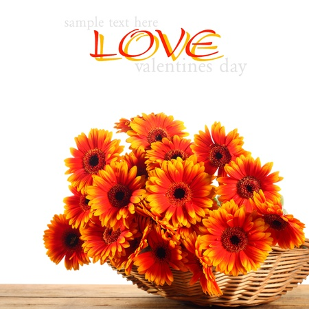 orange flowers in wicker basket Stock Photo - 15759970