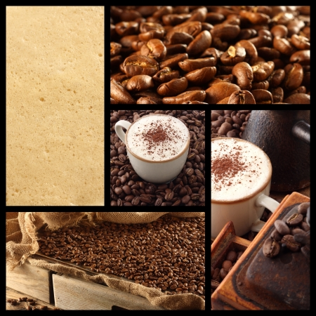 photos of cappucino, coffee beans and coffee grinder photo