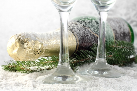 two glasses of champagne on snow photo