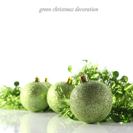 green baubles on white photo