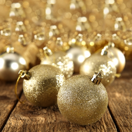 gold baubles background photo