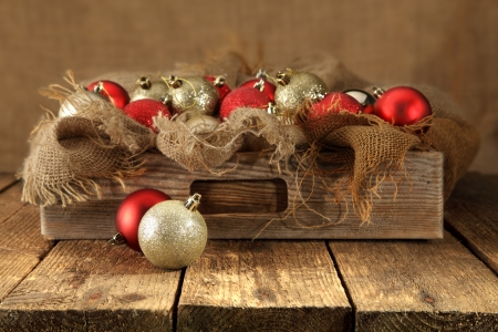 wooden drawer with christmas decorations photo