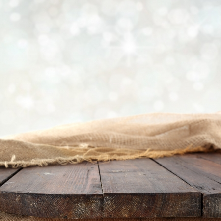 winter background with wooden table photo