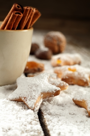star shaped biscuits dusted with icing sugar photo