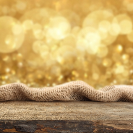 orange sparkly background with rustic display Stock Photo
