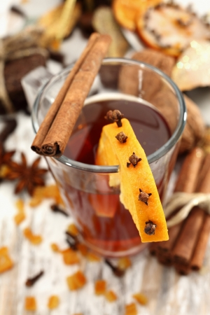 winter tea with orange and spices photo