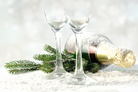 two glasses with champagne bottle Stock Photo - 16760584