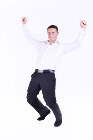 outstretched hand: Businessman hands up Stock Photo