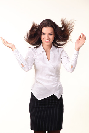 flying hair: Happy business woman with flying hair isolated on white background Stock Photo