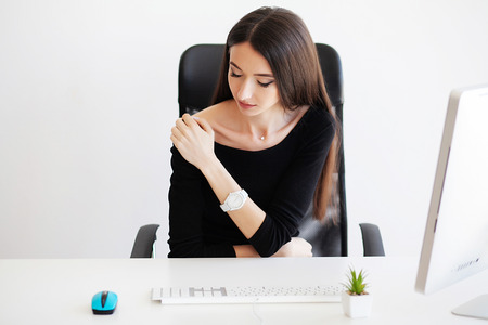Pain. Health healthcare care concep.Beautiful Woman Having Painful Feeling, Body Pain Stock Photo
