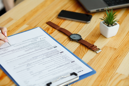Contract waiting for a notary public sign on desk Standard-Bild