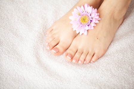 Hand and Nail Care. Beautiful Womens Feet and Hands After Manicure and Pedicure at Beauty Salon. Spa Manicure