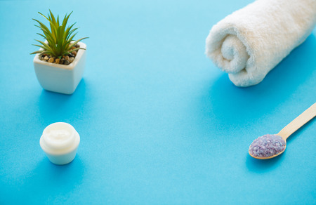 Spa Accessories. Bath Salt Beauty Treatment on Blue Background