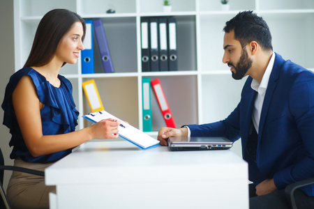 Business. Office Business Woman and Business Man Leading Talks a Stock Photo