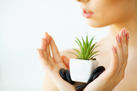Skin Care. Woman with Clear Skin Holding Green Aloe Vera Plant. Beauty Treatment. Cosmetology. Beauty Spa Salon 免版税图像