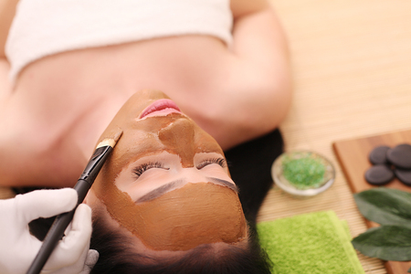 Spa. Care Facial. Face Treatment. Woman in Beauty Salon Gets Marine Mask.