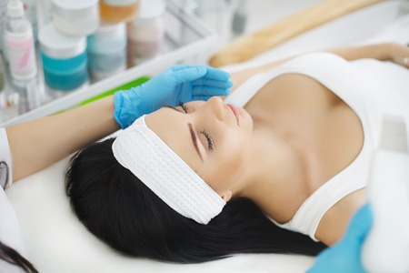 Skin Care. Phonophoresis procedure for a beautiful woman.