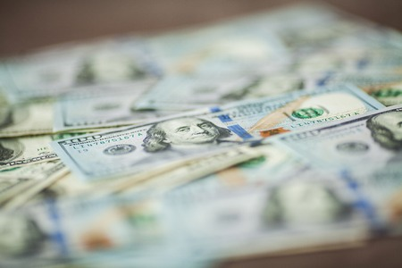 American money background texture bills of 100 american dollars.