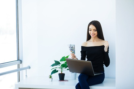 Office Business Woman Smiling and Sitting on the Table. Woman Dr