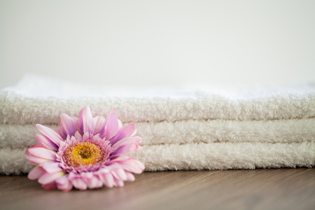 Spa. White Cotton Towels Use In Spa Bathroom. Towel Concept. Photo For Hotels and Massage Parlors. Purity and Softness. Towel Textile 版權商用圖片