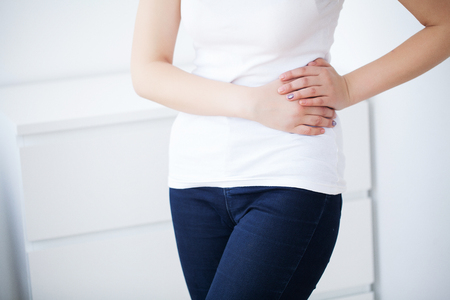 Woman Having Painful Stomachache, Female Suffering From Abdominal Pain