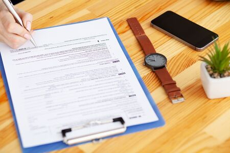 Financial Manager Sitting in Desk and Work With Financial Documents Company.