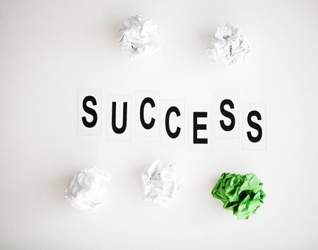 Success word written on white table. Copy space Banque d'images