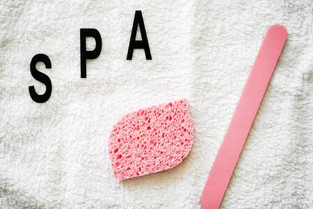 Shower supplies. Composition cosmetic products of spa treatment Фото со стока