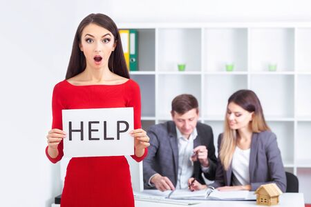 You need help The beautiful business woman at office asks of the help