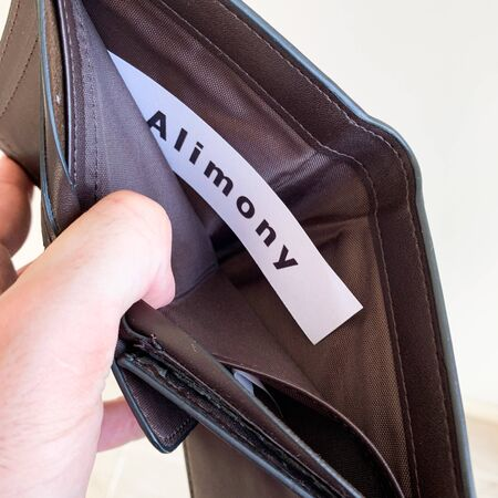 Payment alimony. Empty purse with card alimony.