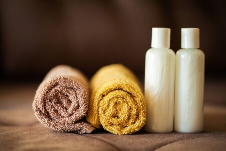 Shower supplies. Composition cosmetic products of spa treatment. Stock Photo